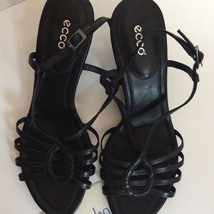 Ecco Black Dress Sandal Wedge Heel EU 40 US 9/9.5